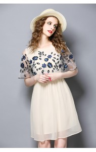 BDS08249526H Embroidery chiffon dress ACTUAL PHOTO