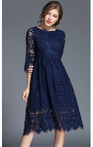 BDS08269915X Middle sleeves full lace dress ACTUAL PHOTO