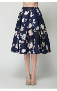 BSK0828218Y Floral midi skirt ACTUAL PHOTO