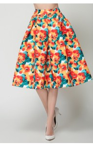 BSK0828318Y Floral midi skirt ACTUAL PHOTO