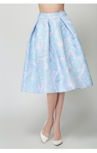 BSK0829818Y Blue floral midi skirt ACTUAL PHOTO