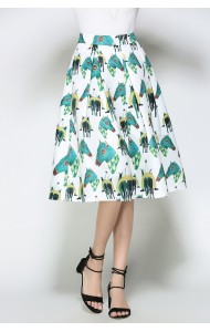 BSK0829118Y Horse print midi skirt in white ACTUAL PHOTO
