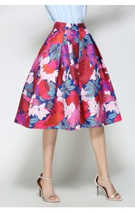 BSK0829308Y Bird print midi skirt in white ACTUAL PHOTO
