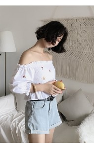 KTP0830527Y Off shoulder embroidery blouse ACTUAL PHOTO