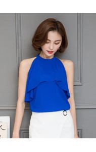 KTP09063206H Halter ruffle chiffon blouse ACTUAL PHOTO
