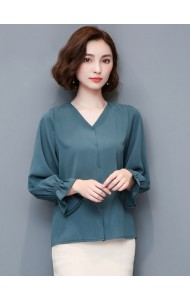 KTP09067406H V neck long sleeves blouse ACTUAL PHOTO