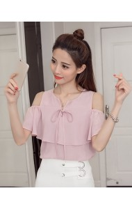 KTP09066551B Off shoulder chiffon blouse ACTUAL PHOTO