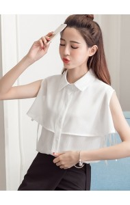 KTP09065551B Off shoulder collar chiffon blouse ACTUAL PHOTO