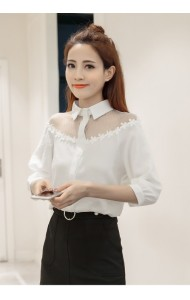 KTP09066251B Puff sleeves collar blouse ACTUAL PHOTO