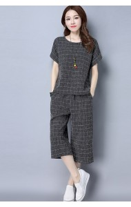 KST09078171J Plus size checkered pants suit ACTUAL PHOTO