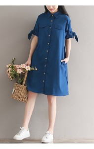 KDS09227388S Plus size soft denim dress with bow ACTUAL PHOTO