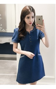 KDS0922771B Plus size V neck soft denim dress ACTUAL PHOTO