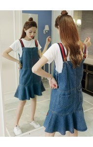 KDS09238599J Mermaid denim jumpsuit skirt ACTUAL PHOTO