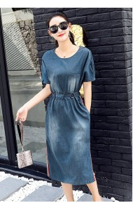 KDS09252188Y Split belted soft denim dress ACTUAL PHOTO