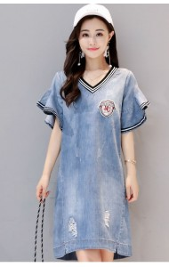 KDS09258888C Trumpet sleeves soft denim dress ACTUAL PHOTO
