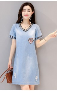 KDS09259888C V neck soft denim dress ACTUAL PHOTO