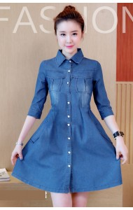 KDS09250488C Denim dress with bow ACTUAL PHOTO