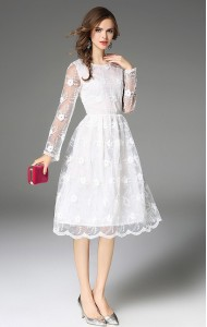 BDS09266849H Full lace dress in white ACTUAL PHOTO