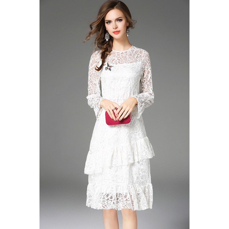826db5a1d76 BDS09268849H Full lace tiered dress in white ACTUAL PHOTO