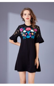 BDS09264826D Embroidery A line dress ACTUAL PHOTO