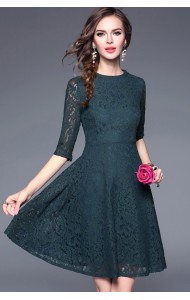 BDS09267198H V back full lace skater dress ACTUAL PHOTO
