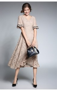BDS09262808Y V neck trumpet sleeves lace dress ACTUAL PHOTO