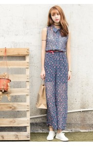 KJP09278002Y Floral belted jumpsuit  REAL PHOTO