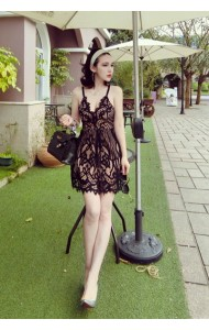 KDS092751Z Sexy deep V lace dress REAL PHOTO