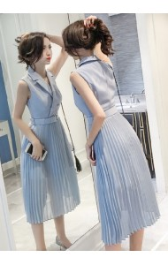KDS09287988X Overlapping pleated dress REAL PHOTO