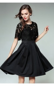 BDS09287778Y Lace shoulder skater dress REAL PHOTO