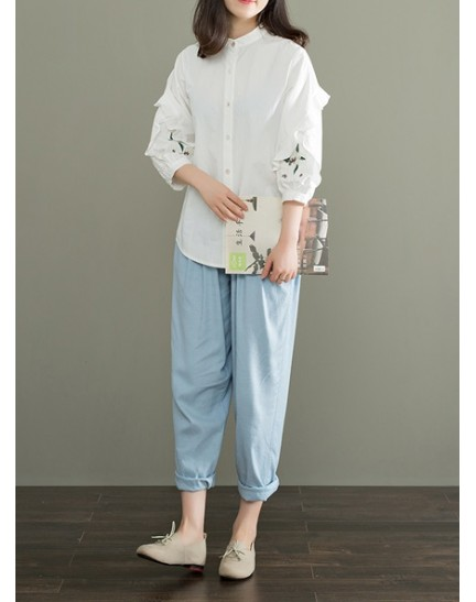 KTP09290081M Puff sleeves embroidery cotton blouse REAL PHOTO