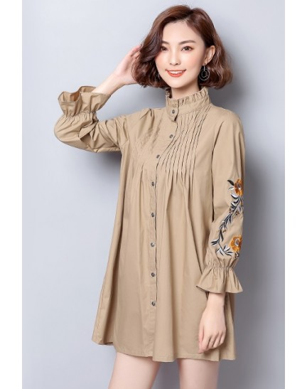 KTP09298388J Puff sleeves embroidery cotton shirt REAL PHOTO