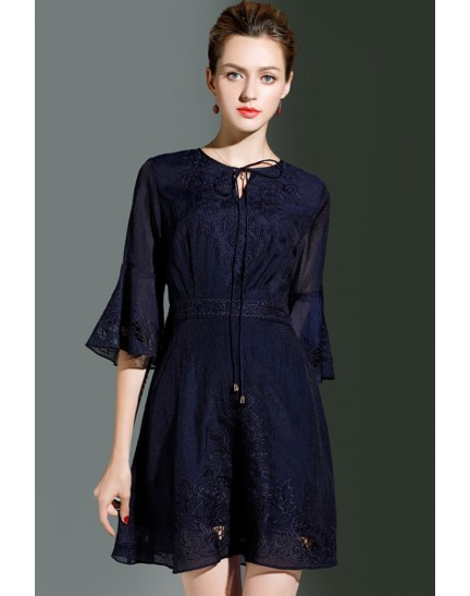 BDS10032217X Trumpet sleeves embroidery dress REAL PHOTO
