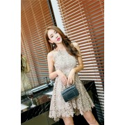 KDS010036316Q Halter crochet lace dress REAL PHOTO