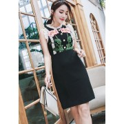 KDS010048987D Ruffle sleeves embroidery retro dress REAL PHOTO