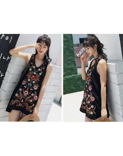 KDS010046198S V neck embroidery dress REAL PHOTO