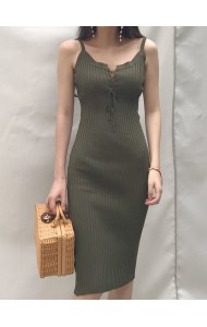 KDS010074745B V neck knit dress REAL PHOTO