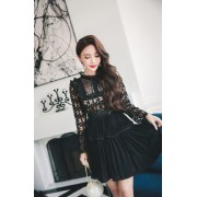 KDS10099086M SP inspired crochet pleated dress REAL PHOTO
