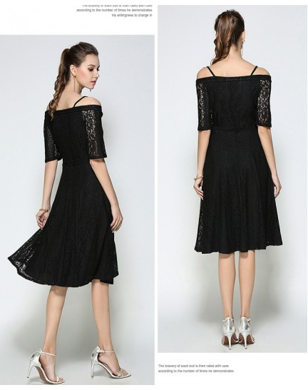 BDS10115328Y Full lace off shoulder dress REAL PHOTO