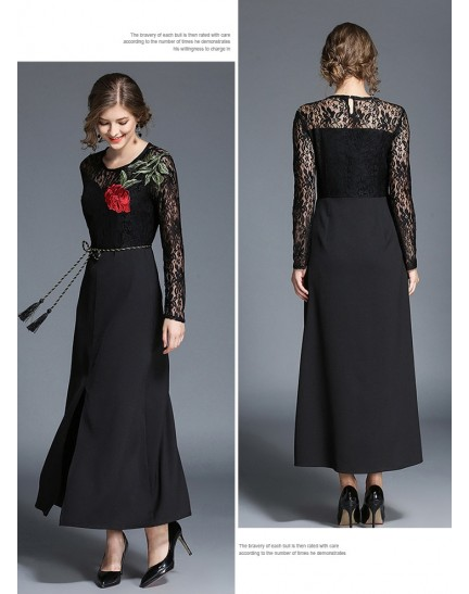 BDS10117071D Full lace embroidery maxi dress REAL PHOTO