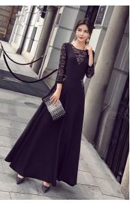 KDS10126389Y Slim maxi dress with lace REAL PHOTO