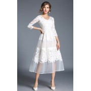 BDS10128906Y V neck embroidery organza dress REAL PHOTO