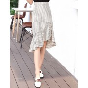 KSK10211125M Irregular plaid frill skirt REAL PHOTO