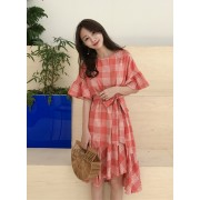 KDS10212606X Plaid irregular frill dress REAL PHOTO