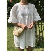 KDS10245109Q Crochet dress with frill sleeves REAL PHOTO