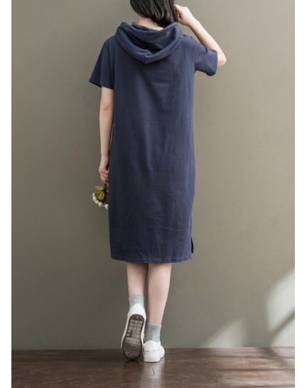 KDS10254421M Plus size hoodie shirt dress REAL PHOTO