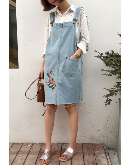 KDS10260312L Embroidery denim jumpsuit skirt REAL PHOTO