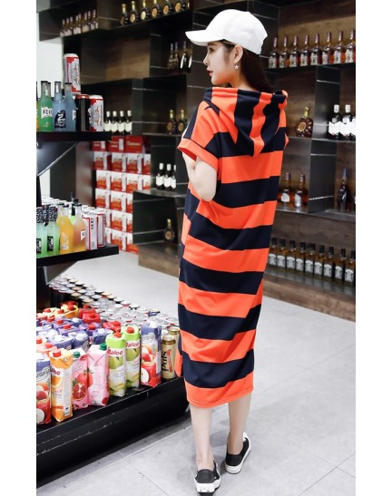 KDS1026059T Stripes hoodie dress REAL PHOTO