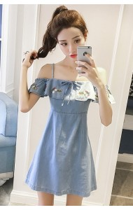 KDS10273219M Off shoulder embroidery denim dress REAL PHOTO