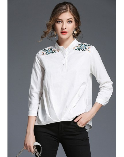 BTP10273303X White shirt with embroidery shoulder REAL PHOTO
